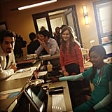 The cast hung out between takes. Source: Instagram user MindyKaling