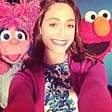 Emmy Rossum had fun with the cast of Sesame Street. Source: Instagram user emmyrossum