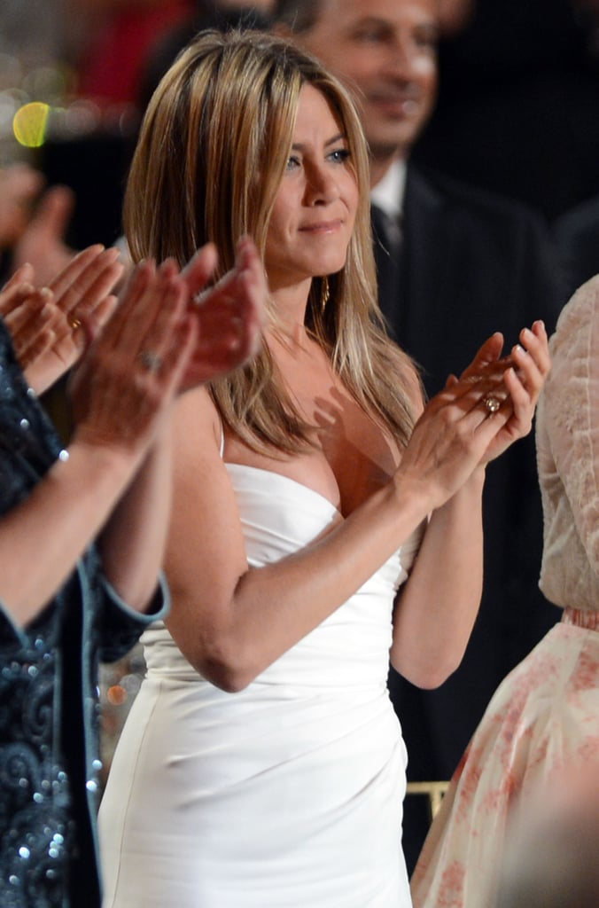 Jennifer Aniston wore a white Burberry number at an AFI gala in LA.