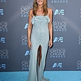 For the 21st Annual Critics' Choice Awards in 2016, Jennifer wore a delicate gray Saint Laurent gown.