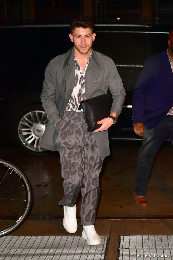 Nick Jonas Leopard-Print Outfit in New York