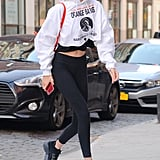 Gigi styled her comfy leggings with the cutest Fural mini backpack we've ever seen.