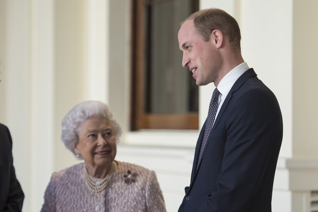 """The queen looks up to her grandson William, who measures 6'3""""."""