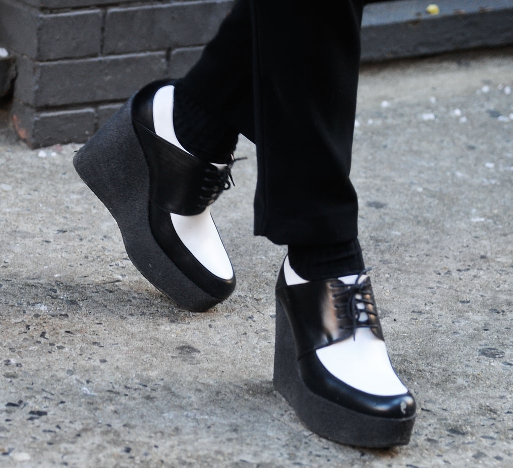 Black and white creepers make a standout look from the ankles down.
