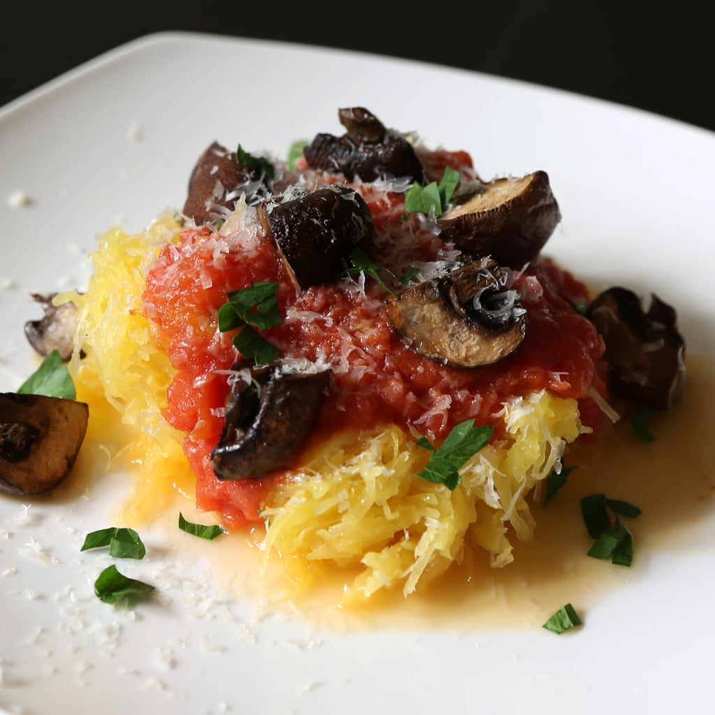 Spaghetti Squash with Tomato Sauce and Mushrooms