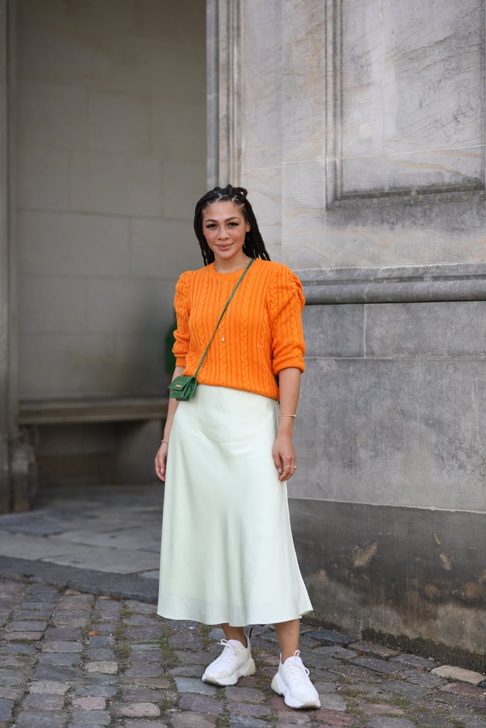 Fall Outfit Idea: Orange Sweater + Slip Skirt + Sneakers