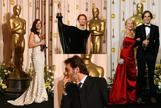 2008 Oscars Winners Daniel Day-Lewis, Marion Cotillard, Tilda Swinton and Javier Bardem in the Press Room