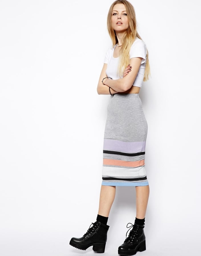 ASOS Pencil Skirt in Pastel Stripe ($34)