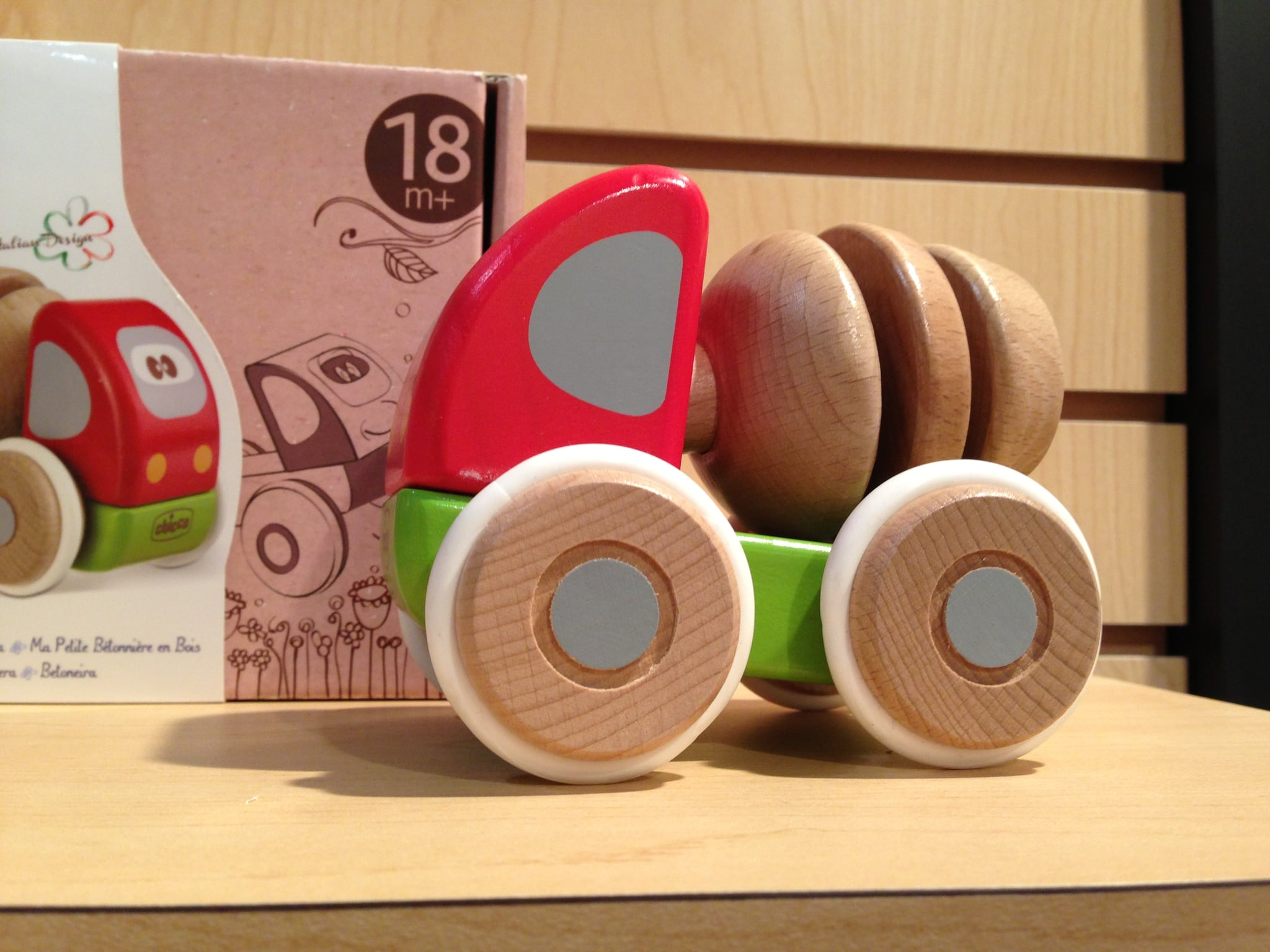 A rolling cement mixer for little hands from Chicco's new wooden toy line.