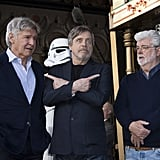 Pictured: Harrison Ford, Mark Hamill, and George Lucas.