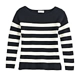 Oversized Boat Neck Sweater in Jet Black with Pristine Stripe