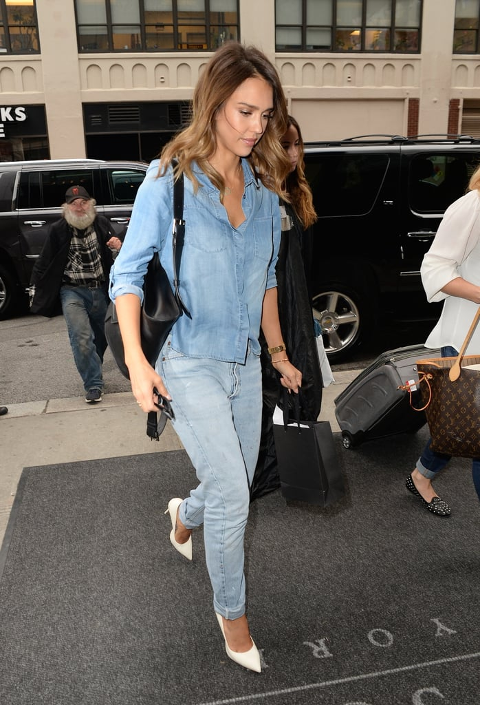 Stepping out in NYC, Jessica finished off her double-denim look with a white pair of heels.