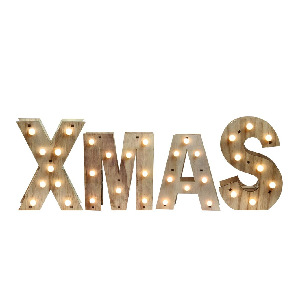 """Wooden """"XMAS"""" LED Lighted Wall Decoration"""