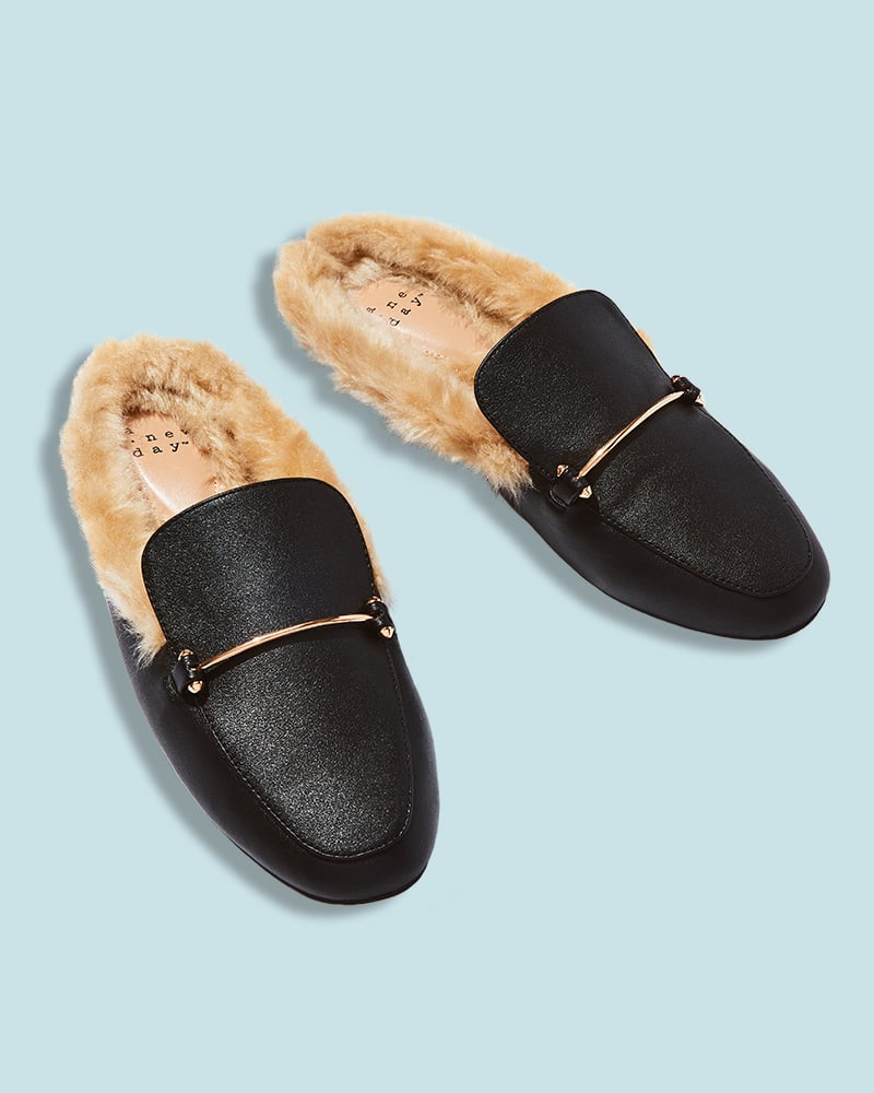 Faux Leather and Fur Mules