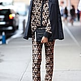 A statement print on a crisp suit gave this styler just the right styled edge. Source: Greg Kessler