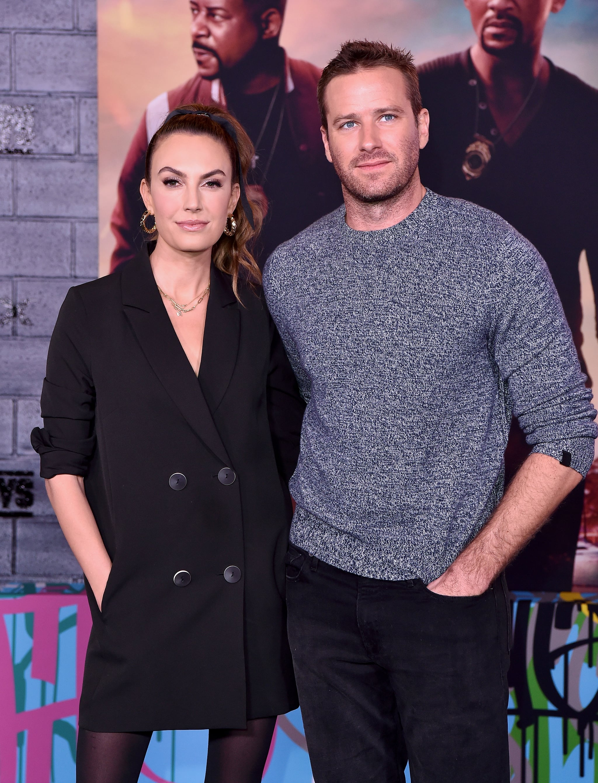 HOLLYWOOD, CALIFORNIA - JANUARY 14: Elizabeth Chambers and Armie Hammer attend the Premiere of Columbia Pictures'