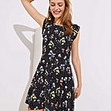 Loft Floral Dot Button Down Flutter Dress