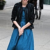 Miranda Kerr smiled for photographers in NYC.