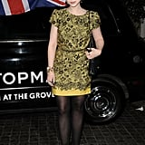 Michelle Trachtenberg's black-and-yellow printed sheath offered up a more elegant take on colorful evening ensembles.