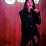 Camila Cabello Wore a Sexy Lacy Black Pantsuit by Versace