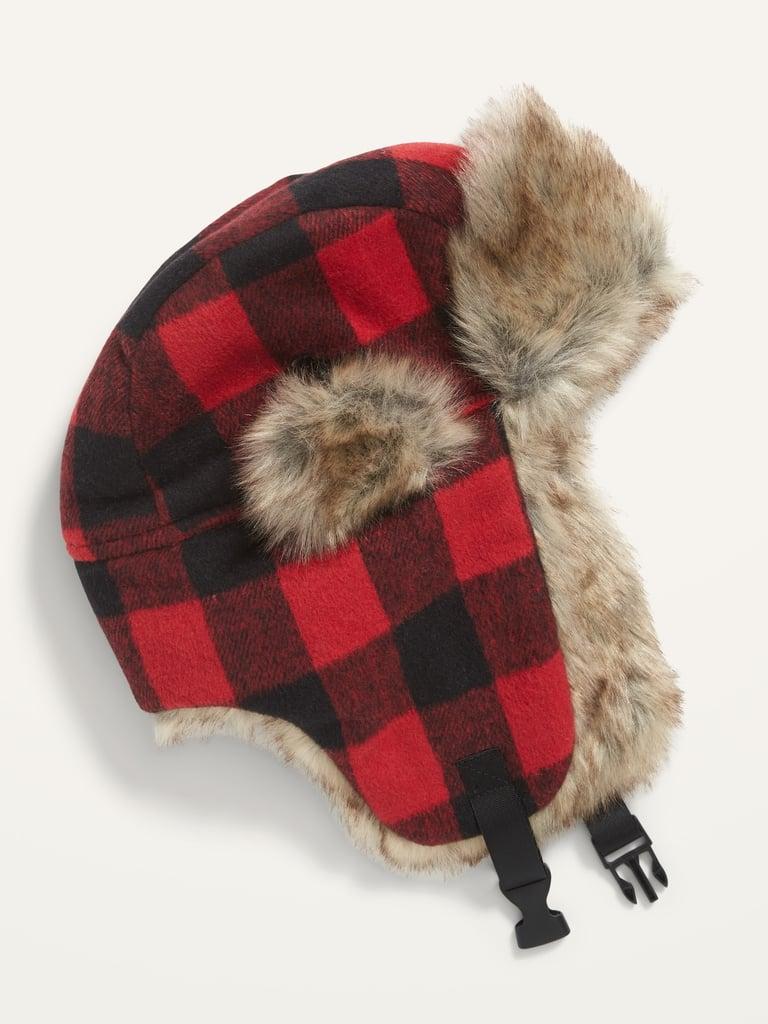 Cosy Patterned Flannel Faux-Fur Trim Trapper Hat