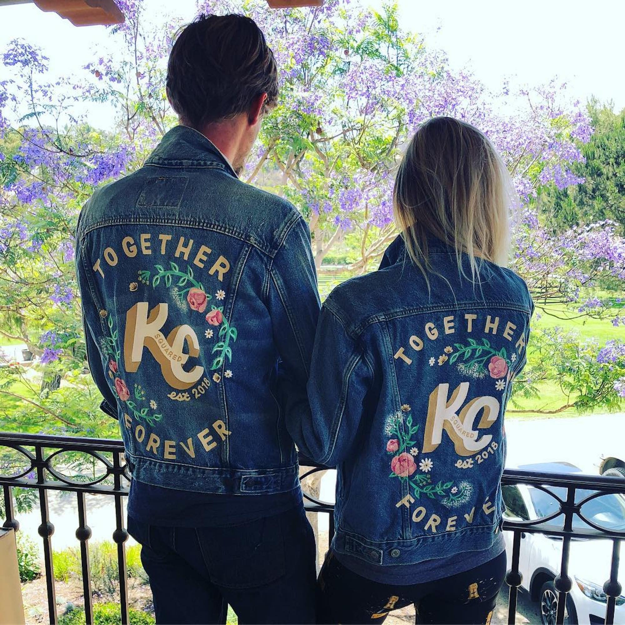 cbf07aa488 Kaley Cuoco and Karl Cook Denim Jackets on Wedding Day