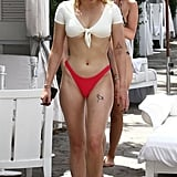 Sophie Turner White and Red Bikini August 2018