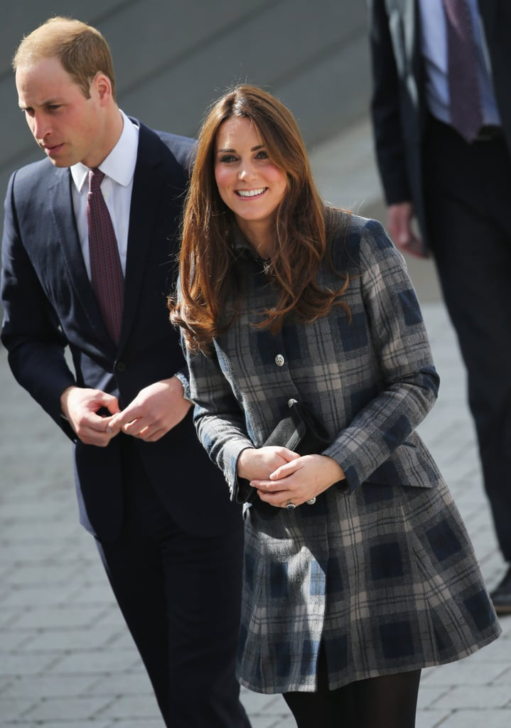 Kate Middleton wore a plaid coat.