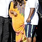 Pregnant Beyoncé Knowles got help out of her car.