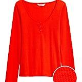 Waffle-Knit Henley T-Shirt