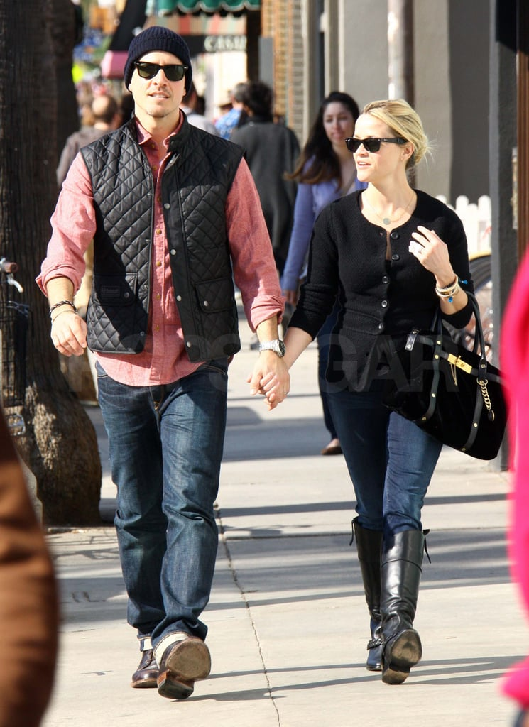 Reese Witherspoon spent the weekend with her husband, Jim Toth, dining and shopping around LA. The pair grabbed lunch in Brentwood on Saturday then ventured out yesterday for church services and some shopping. Reese and Jim are prepping to share their first holiday together as husband and wife, and she's also celebrating the news of her latest dramatic role. Reese was cast to star in The Devil's Knot, an adapted screenplay based on a book about the 1993 Arkansas murders of three young boys. It's been a banner year for Reese, who tied the knot, shared the big screen with Robert Pattinson in Water For Elephants, and continued her philanthropic work as a global ambassador for Avon. Reese will be back in the spotlight in early 2012 promoting her next film, This Means War, prior to its Feb. 17 release.