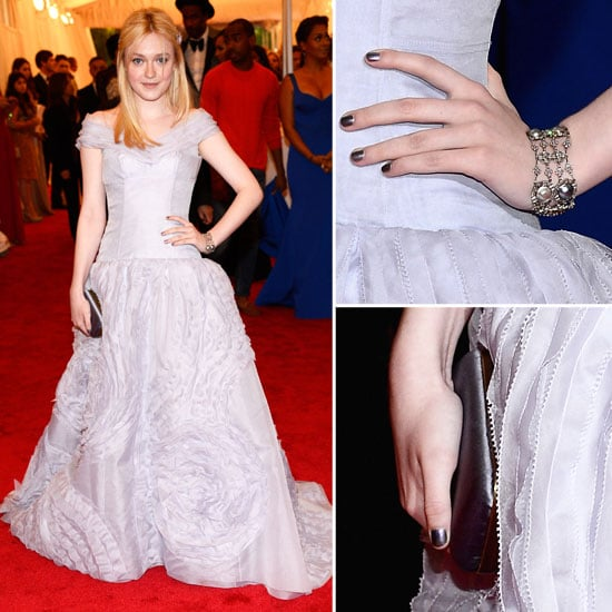 Pictures of Dakota Fanning in Lilac Louis Vuitton Gown on the Red Carpet at the 2012 Met Costume Institue Gala