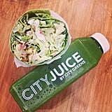 In between filming for American Horror Story and her other obligations, Emma Roberts keeps healthy by snacking on salad wraps and green juice from City Greens.