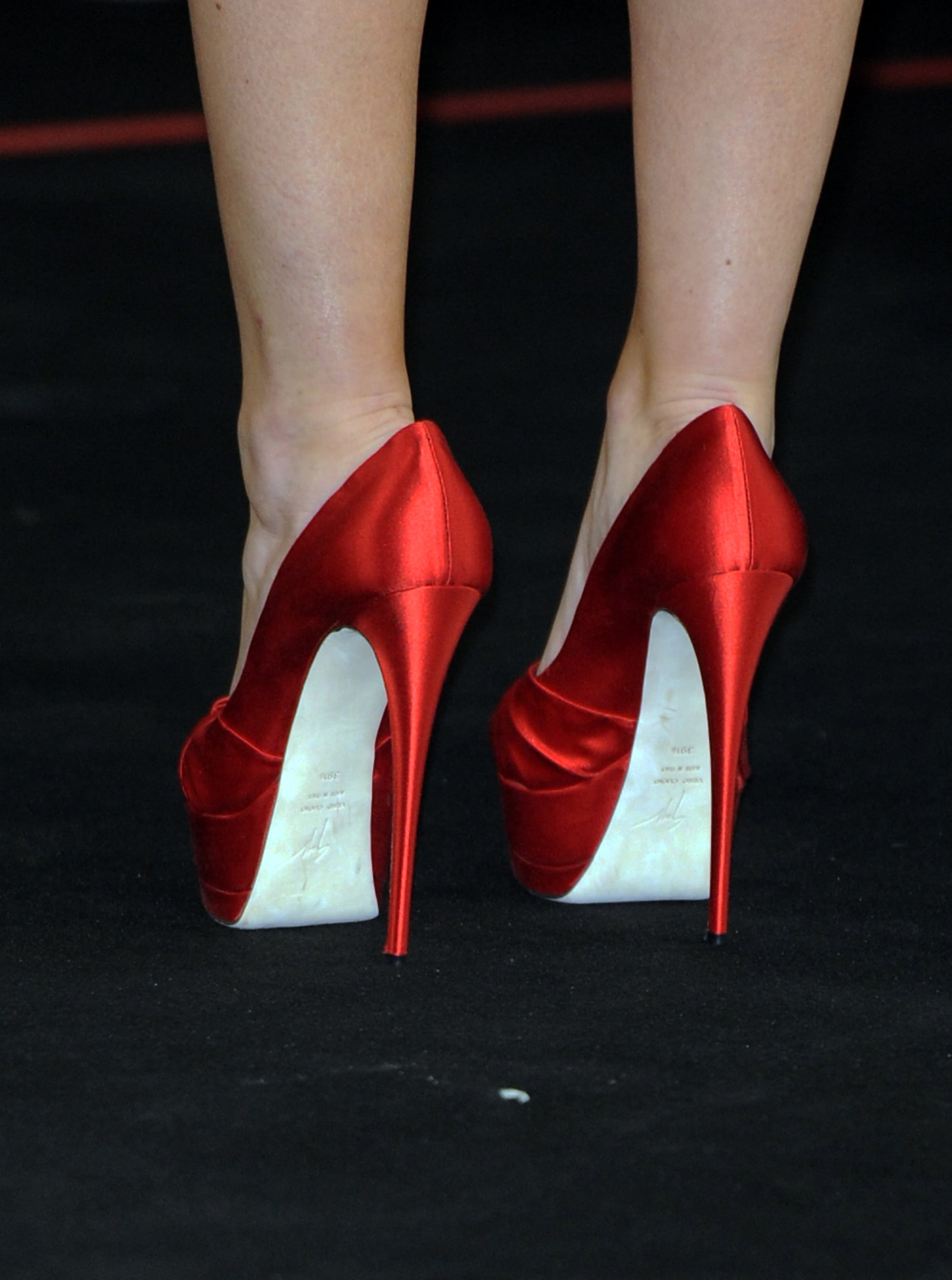 Check out those heels — the actress stepped out in sky-high Giuseppe Zanotti pumps.