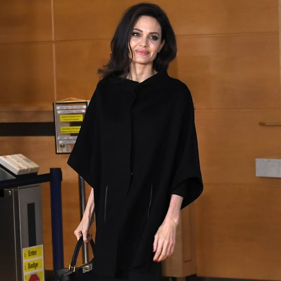 Angelina Jolie Black Off the Shoulder Dress