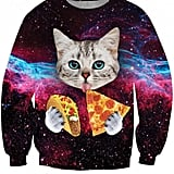 3D Cat Print Round Neck Long Sleeve Sweatshirt