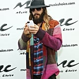 On Monday, Jared Leto picked up his cell during a visit to NYC's Music Choice.