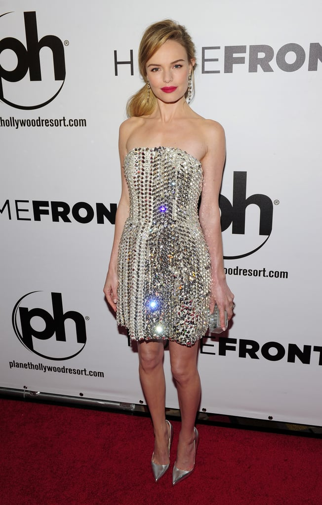 Kate Bosworth was a Winter wonderland in Fendi's icy cocktail dress at the Las Vegas Homefront premiere.