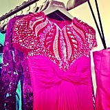 Decadent embellishment and vibrant color from Monique Lhuillier.