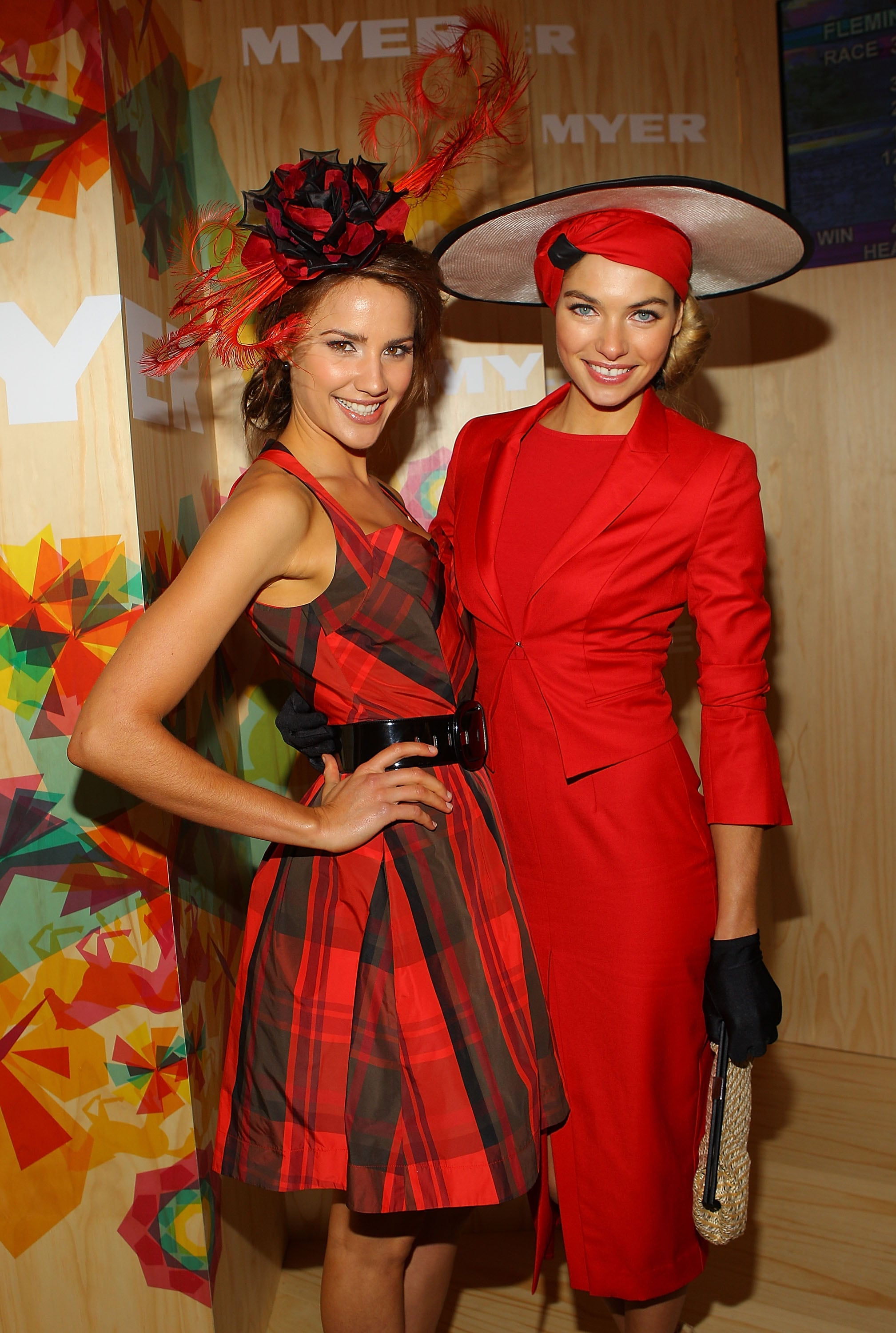 Ladies in red, Jess Hart and Rachael Finch.
