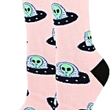 Novelty Funny Alien UFO Crew Socks