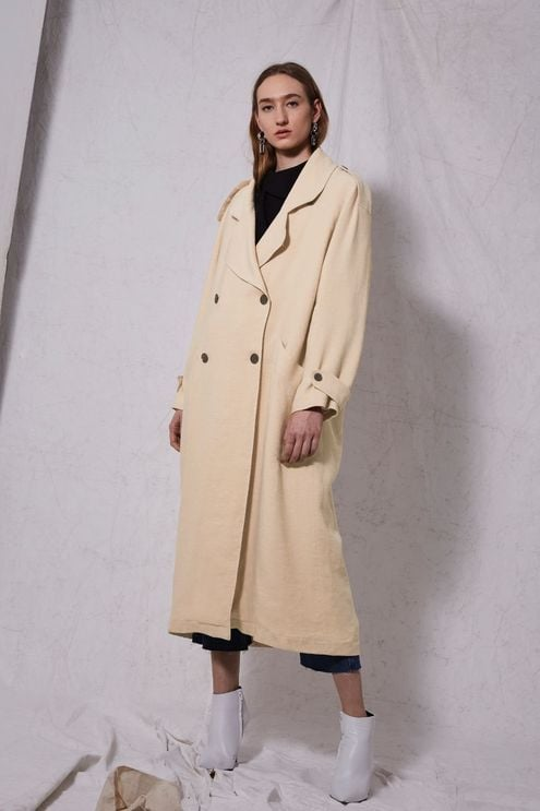 Topshop Linen Trench Coat by Boutique