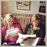 Jennie Garth went over her lines with her onscreen mom for Home Again. Source: Instagram user jenniegarth