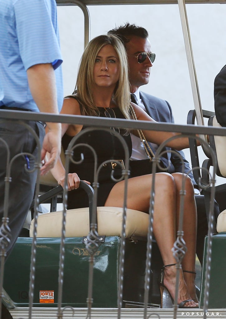 Jennifer Aniston and Justin Theroux hitched a ride at the nuptials.