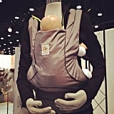 The Ergobaby Urban Chic Carrier is a new style for the company. More masculine and tailored than its typical carrier, it is made from recycled plastic.