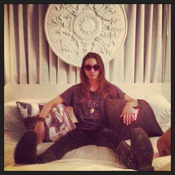 Pretty Little Liars star Troian Bellisario is equipped for Coachella with her sunglasses and boots. Source: Instagram user sleepinthegardn