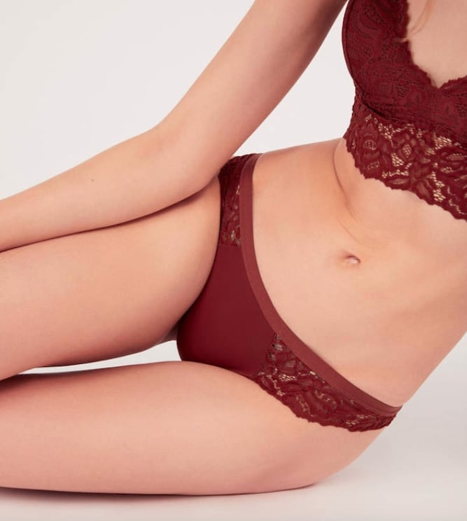 Oysho Tile Red Lace Brazilian Briefs