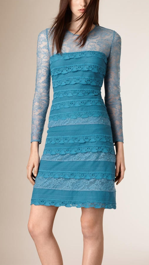 Burberry Prorsum Tiered French Lace Shift Dress 2995
