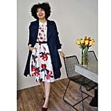 Throw a Knee-Length Trench Coat Over a Floral Dress and Finish With Dark Flats