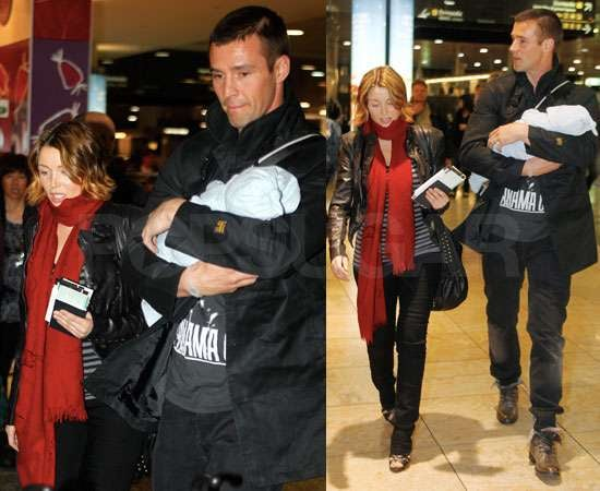 Pictures of Dannii Minogue With Kris Smith and Baby Ethan Flying From Australia Back to UK For The X Factor Live Shows
